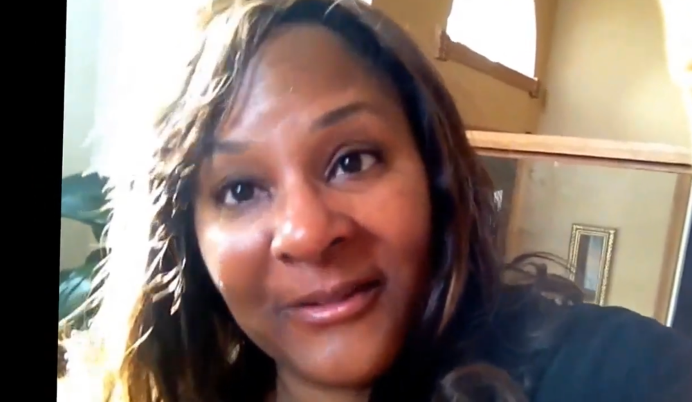 Dianne Bondy talks to the screen during a video blog.